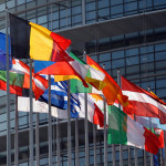 (FILES) A file photo taken on April 24, 2009 shows the European Union flag and national flags in front of the European Parliament in Strasbourg, eastern France. The Nobel Peace Prize was on October 12, 2012 awarded to the European Union, an institution currently wracked by crisis but is credited with bringing more than a half century of peace to a continent ripped apart by World War II.  AFP PHOTO / FREDERICK FLORIN